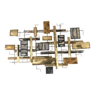 Vintage Modern Brutalist Metal Wall Art, Signed For Sale