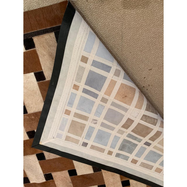 Geometric Patchwork Cowhide Area Rug For Sale - Image 11 of 13