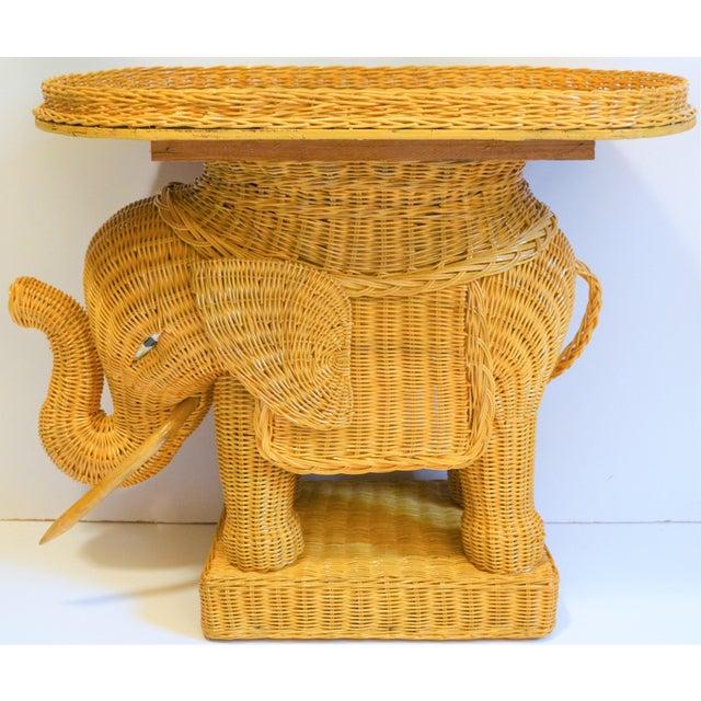 Wicker Boho Chic Wicker Rattan Elephant Tray Table (Final Markdown Taken) For Sale - Image 7 of 13