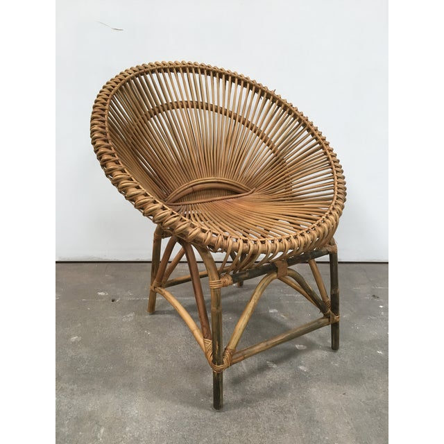 Mid-Century Modern Rattan Circle Chair For Sale - Image 5 of 7