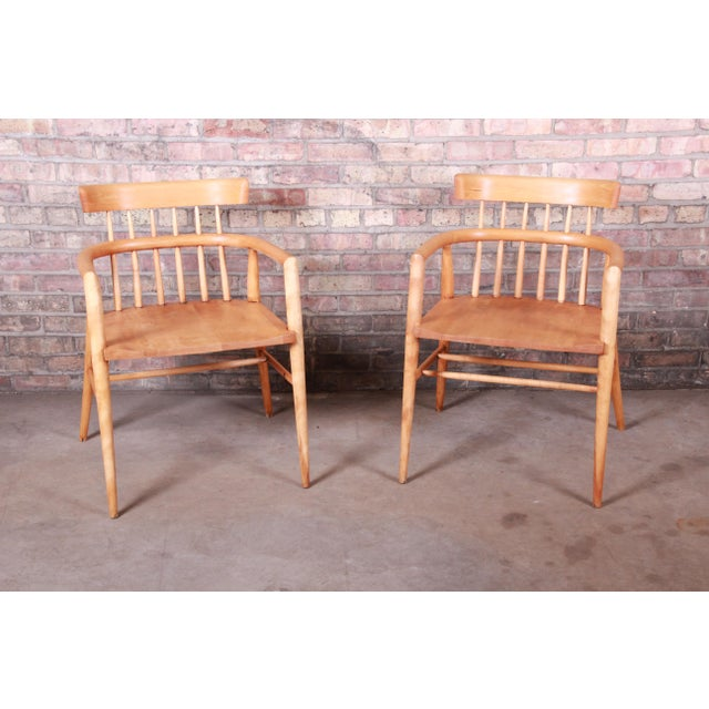 Mid-Century Modern Paul McCobb Planner Group Solid Maple Spindle Back Armchairs - a Pair For Sale - Image 3 of 13