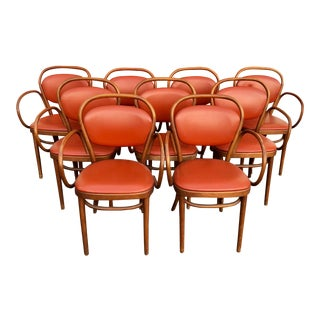 1950s Vintage Thonet Bentwood 215 Cafe Chairs- Set of 9 For Sale