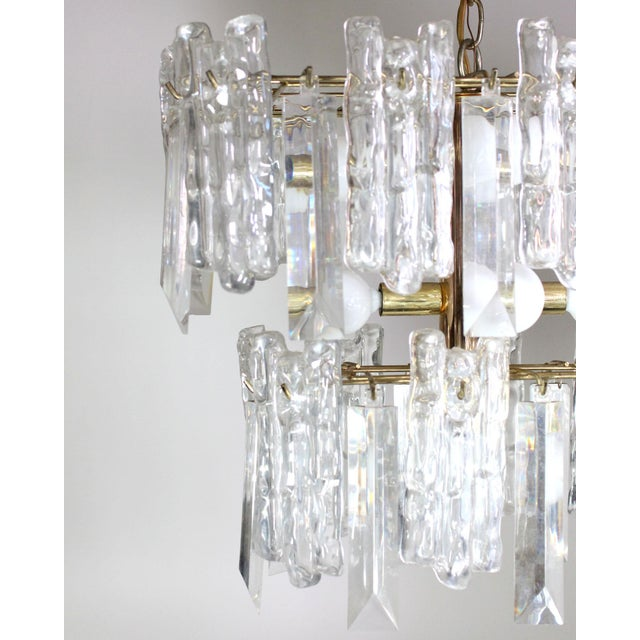 Mid-Century Modern 1960s Mid-Century 2-Tiered Austrian Brass & Ice Frosted Chandelier by Kalmar For Sale - Image 3 of 4