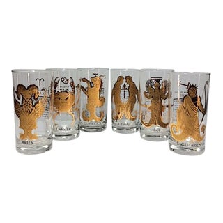 1960s Vintage Anchor Hocking Zodiac 22k Gold Highball Glasses - Set of 6 For Sale