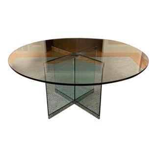 1970s Mid Century Modern Glass and Chrome Top Dining Table For Sale