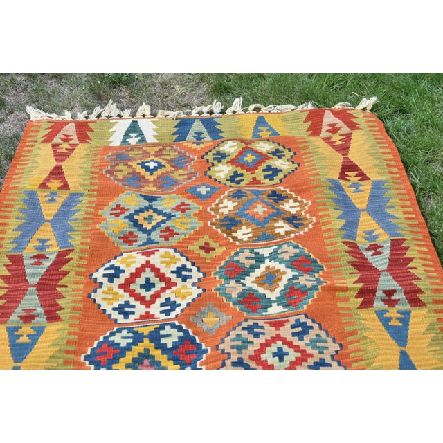 4x6 ft Traditional AuthenticTurkish Handmade Medium Size Kilim Free Shipping Size: 3.9 x 5.8 ft ( 120 x 176 cm ) 47.2 x...
