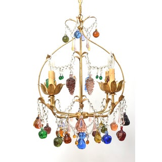 Vintage Italian Chandelier With Hanging Crystal Fruits Preview