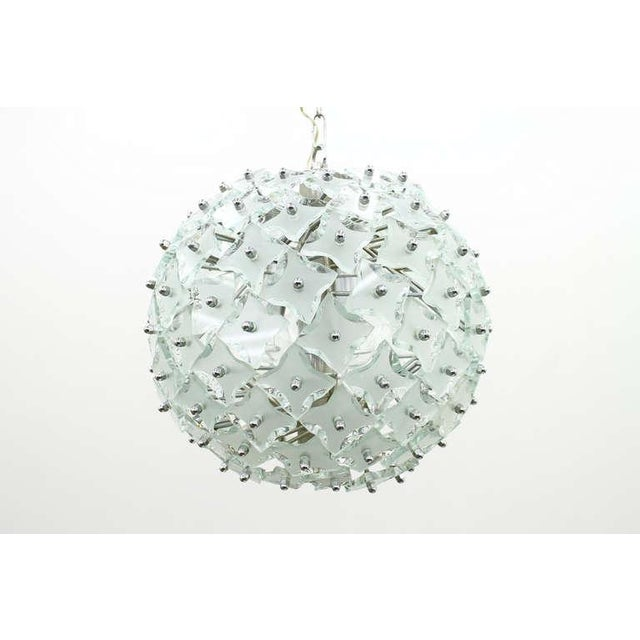 """White Glass and Metal """"Snowball"""" Chandelier, Italy, 1960s For Sale - Image 8 of 8"""