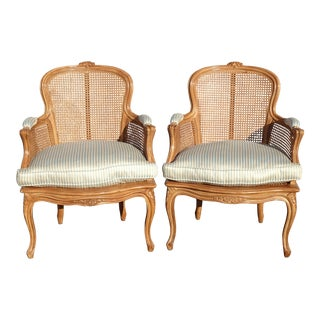 Pair of Vintage French Provincial Cane Accent Chairs W Blue Feather Cushions For Sale