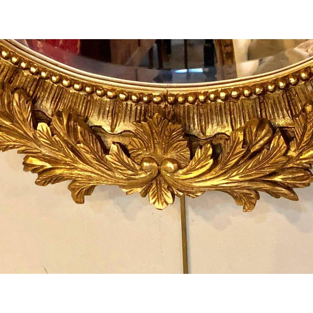 Fine Antique French Oval Gilt Wooden Wall or Console Mirror For Sale In New York - Image 6 of 9