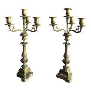19th Century Dore Bronze Candelabras - A Pair For Sale