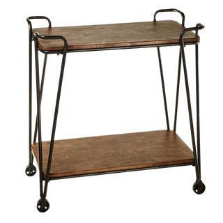 Farmhouse Wood & Iron 2 Tier Bar Cart