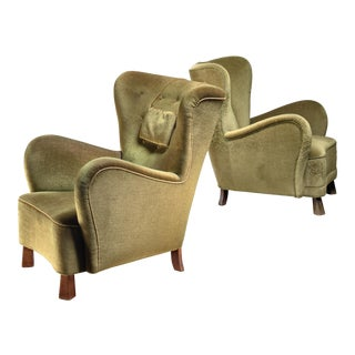 Pair of Green Otto Schulz Lounge Chairs, Sweden, 1930s For Sale