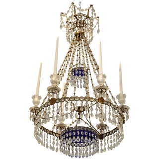 19th Century Baltic Neoclassical Chandelier With Cobalt Blue Glass Plates For Sale