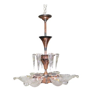 Monumental French Art Deco Chandelier by Ezan Glass and Copper For Sale