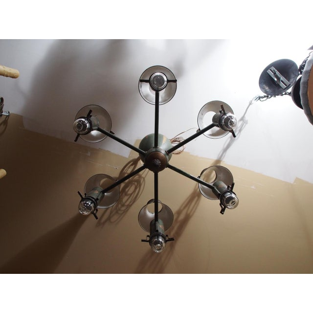 Mid 20th Century Painted French Tole Chandelier For Sale - Image 4 of 7