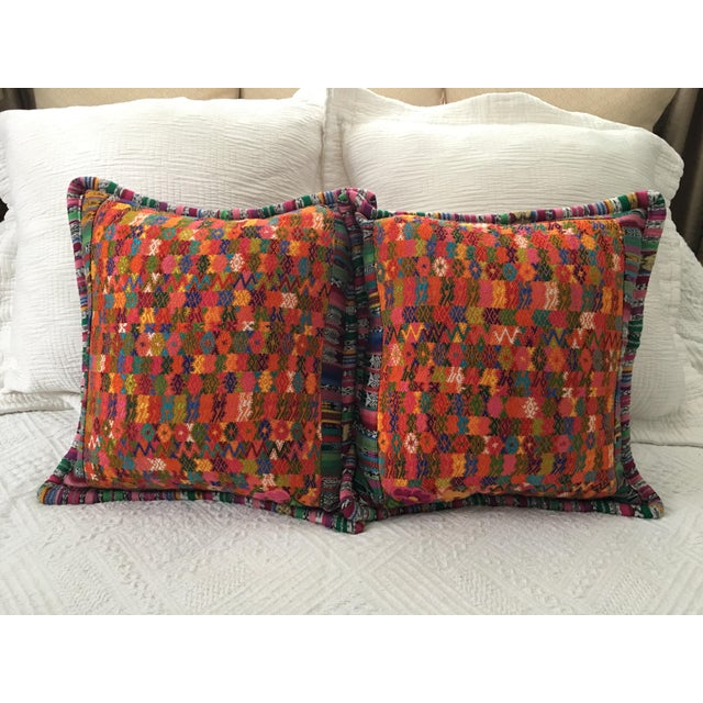 Guatemalan Textile Cushion Cases Orange Pattern a Pair For Sale - Image 4 of 4