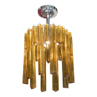 Mid-century Italian Staggered Amber Prisms Chandelier in the Style of Venini For Sale