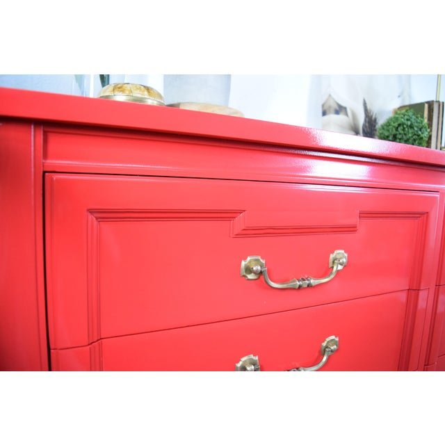 19th Century Thomasville Positive Red High Gloss Lacquer Dresser For Sale - Image 9 of 13