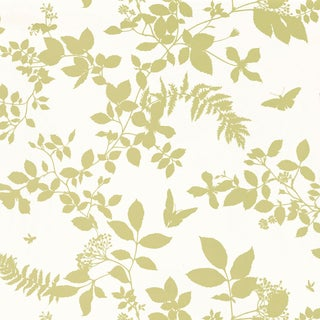 Sample - Schumacher Shadow Vine Wallpaper in Chartreuse For Sale
