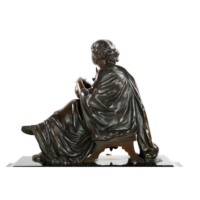 Traditional J.E. Caldwell Mantel Clock With Bronze Sculpture of a Cartographer - Image 8 of 10