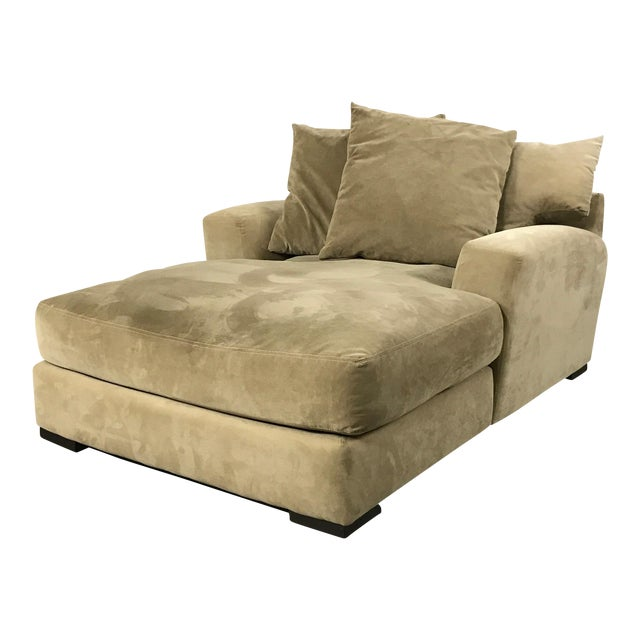 Z Gallerie Microsuede Chaise Lounge Sofa For Sale