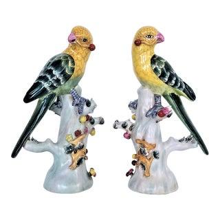 Vintage Porcelain Ceramic Chinese Export Parrots - a Pair - Birds Tropical Coastal Mid Century Modern Boho Chic Hollywood Regency Palm Beach Tree