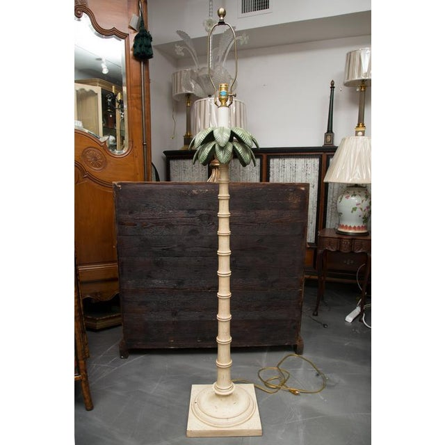 Polychromed Tole Palm Tree Floor Lamp - Image 4 of 6