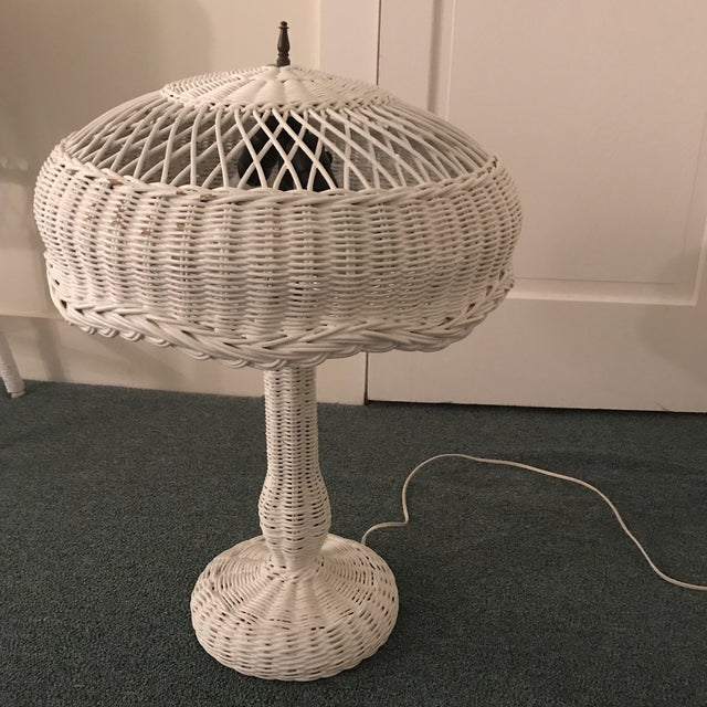 1950s Vintage Wicker Lamp For Sale - Image 12 of 13