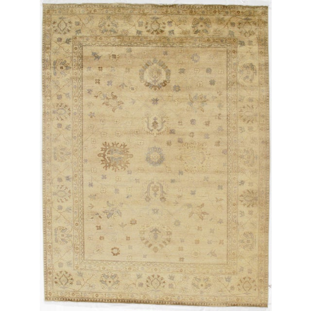 "2010s Indian Oushak Hand-Knotted Rug - 8'9"" X 10'6"" For Sale - Image 5 of 5"