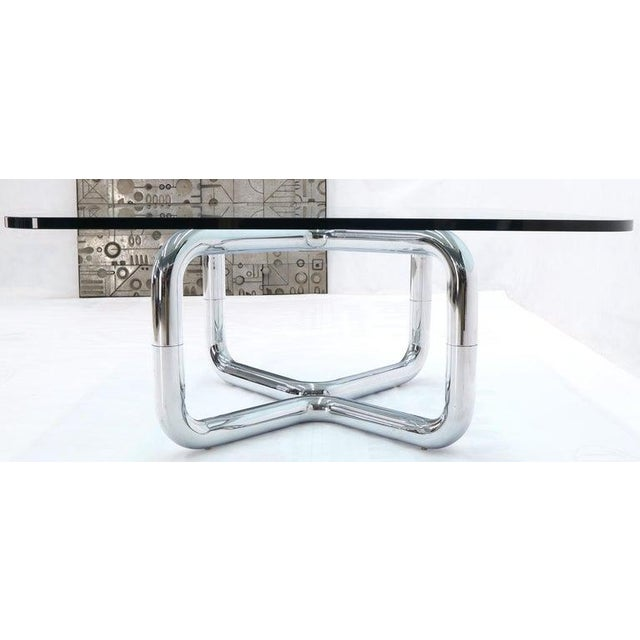Rounded Corners Square Coffee Table on Thick Bent Tube Chrome Base For Sale - Image 10 of 13