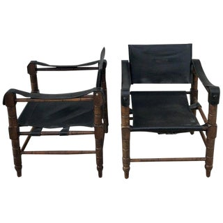 Pair of Syrian Leather Campaign / Safari Chairs For Sale