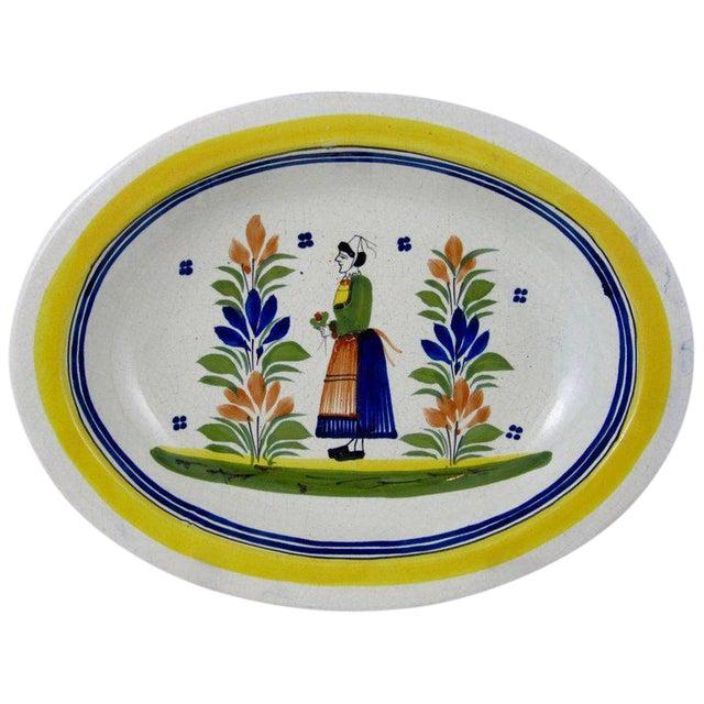 HenRiot Quimper Oval Faience Bowl, Femme de la Campagne Breton For Sale