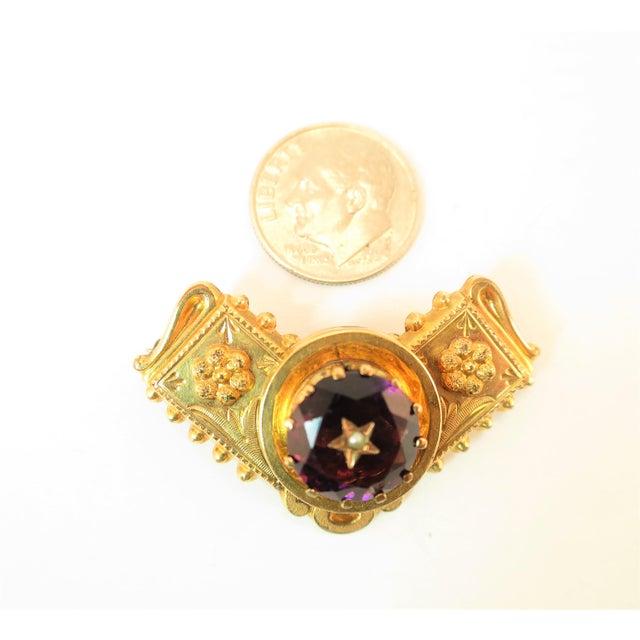 Georgian 10k Gold Carved Amethyst Brooch1830 For Sale - Image 10 of 13