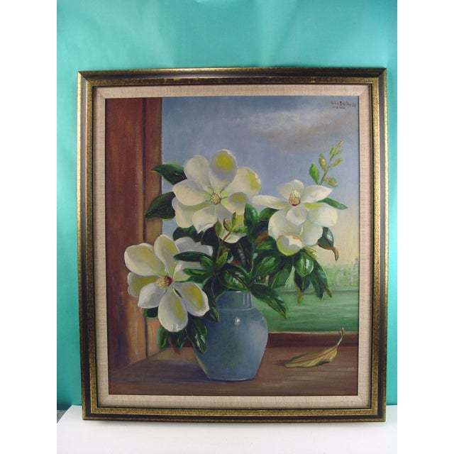Rustic Magnolia Still Life Painting by Lila Shelby For Sale - Image 3 of 4