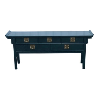 Century Furniture Lacquered Green Malachite Pagoda Console For Sale