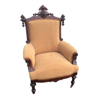 1870s Antique Victorian Walnut Upholstered Parlor Chair For Sale