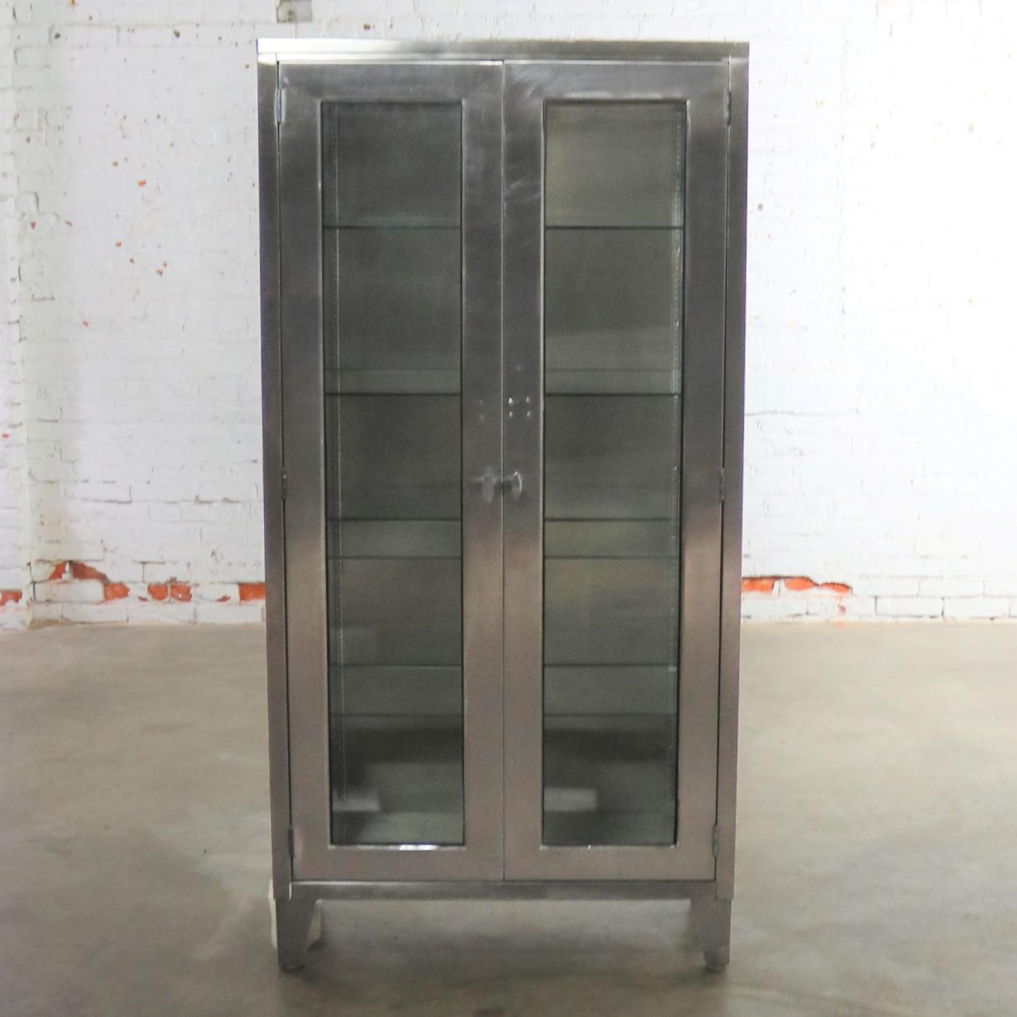 Vintage Stainless Steel Industrial Display Apothecary Medical Cabinet With  Glass Doors And Shelves   Image 2