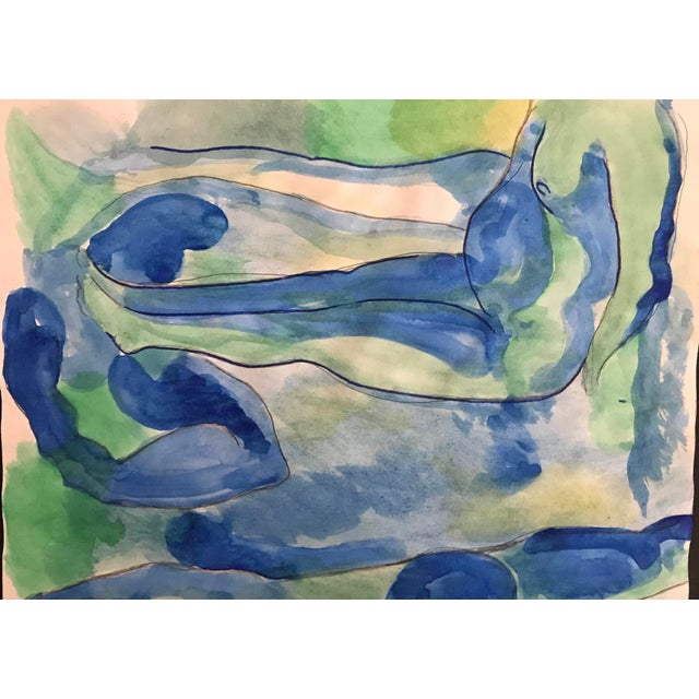 Figurative 1980s Seated Nude Male Watercolor Painting For Sale - Image 3 of 3
