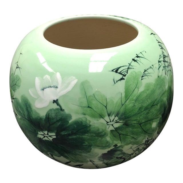 Vintage green bamboo lotus flower motif stoneware pot chairish vintage green bamboo lotus flower motif stoneware pot mightylinksfo