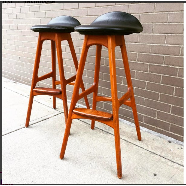 These are two original Erick Buch rare bar stools designed for Oddense Maskinsnedkeri as shown on the label. Made in...