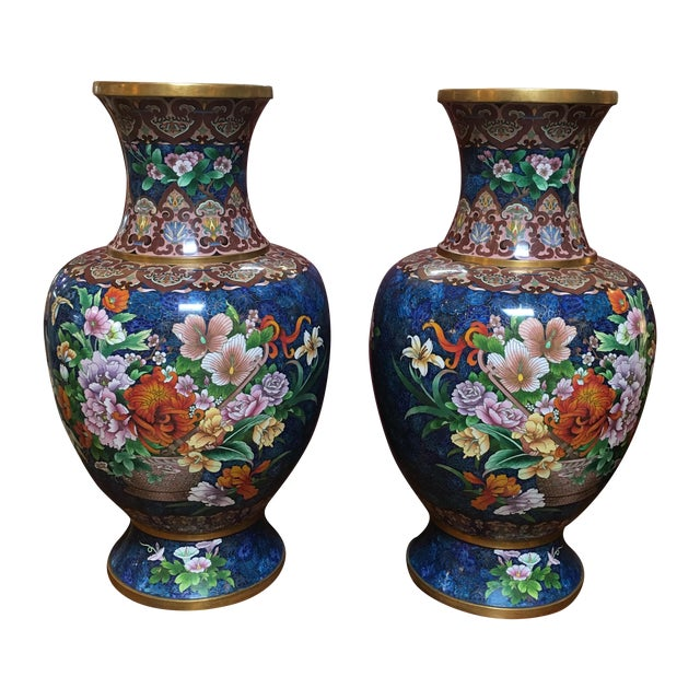 Chinese Cloisonne Style Vases - A Pair - Image 1 of 11