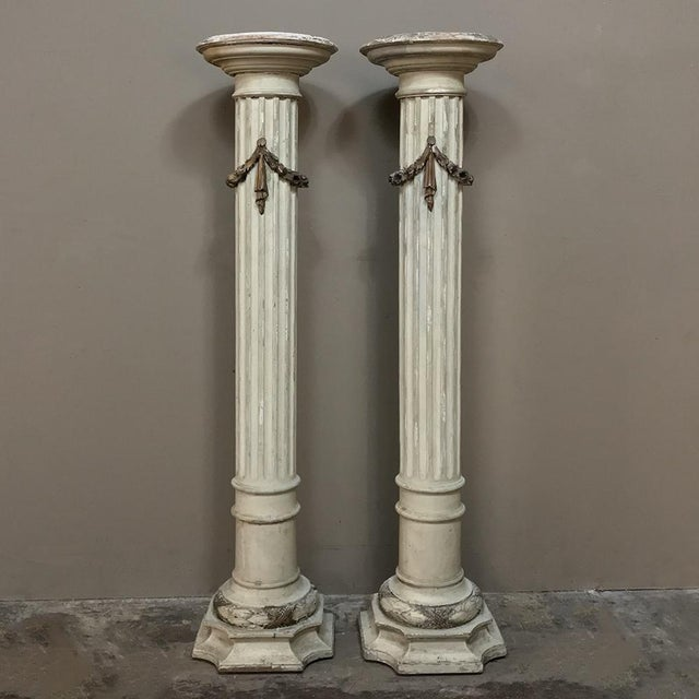 Pair 19th Century French Louis XVI Painted Pedestals For Sale - Image 13 of 13