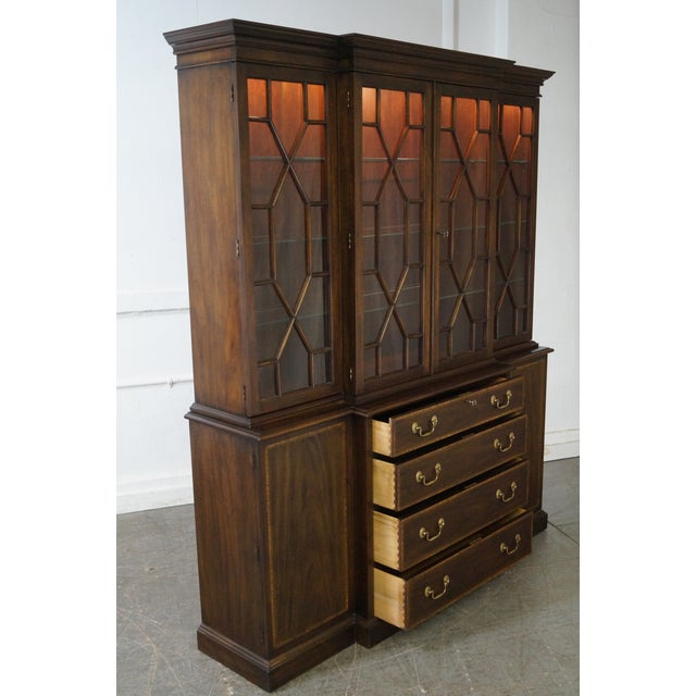 Henkel Harris Mahogany Chippendale Style London Breakfront For Sale - Image 9 of 10