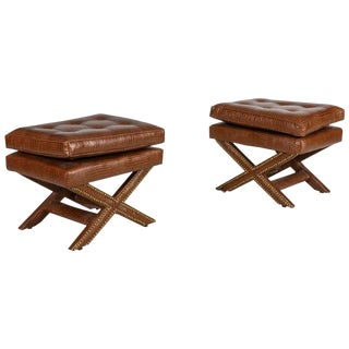 Billy Baldwin Style Faux Crocodile Upholstered X Benches - a Pair For Sale