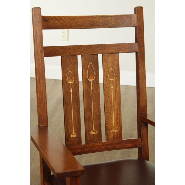 Stickley Mission Collection Harvey Ellis Rocker with Inlay For Sale - Image 10 of 13