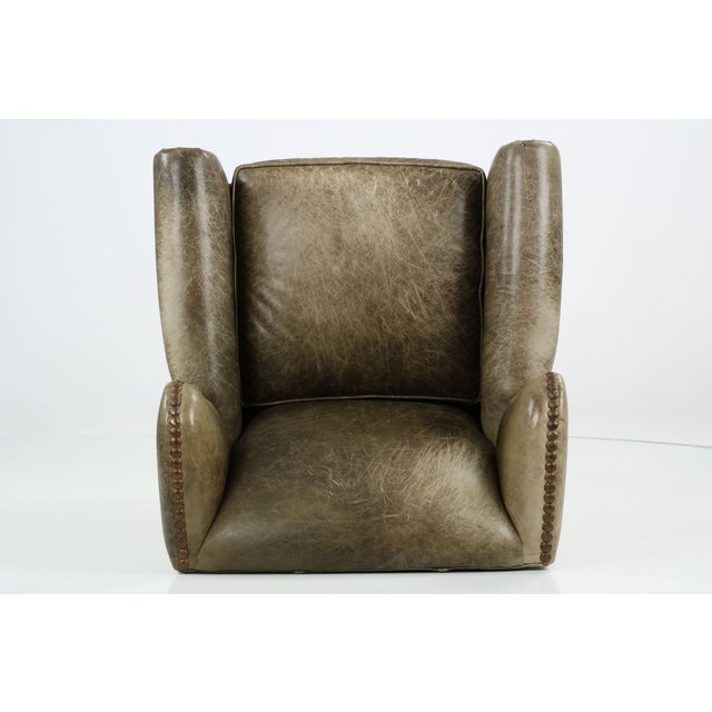 Regency Style Green Leather Club Chair and Ottoman - Image 10 of 11