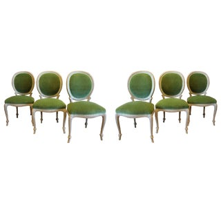Donghia Green Velvet Side Chairs - Set of 6 For Sale