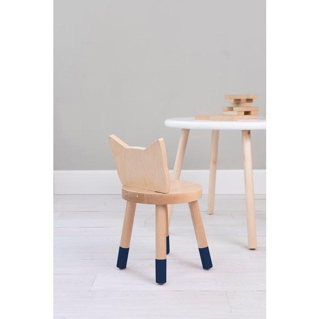 Modern Nico & Yeye Kitty Kids Chair Solid Maple and Maple Veneers Deep Blue - Set of 2 For Sale - Image 3 of 4