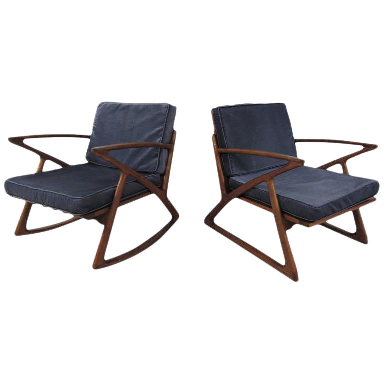Poul Jensen Z Style Sculpted Lounge Chairs   A Pair